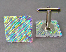 Cuff Links DICHROIC Fused GLASS Clear Gold Yellow Ripple Waves Mens Formal Wear