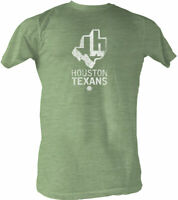 HOUSTON TEXANS WFL Logo Men's Lightweight Tee Shirt Kelly Heather Sizes S-2XL