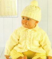 Knitting Pattern Baby's Cute DK Cable Jacket Hat & Blanket Birth - 2 Years  (49)