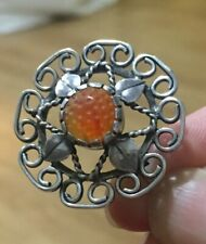 Sterling Silver Arts And Crafts Charles Gladys Mumford Carnelian Brooch Horner