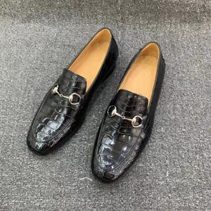 Men's Shoes Genuine Crocodile Alligator Leather Handmade Black Size 7-13US #7171