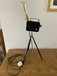 One off up-cycled Table Lamp, Steampunk, 50s CineCamera Tripod Adjustable