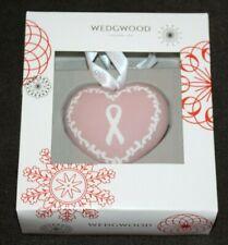 NIB Wedgwood Pink White Jasperware Breast Cancer Heart Christmas Ornament
