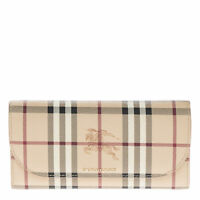 Burberry Women's Leather Trim Haymarket Check Wallet With Chain Camel