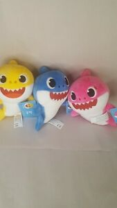 Baby Shark 8 Inch Set - Mommy, Daddy & Baby Shark Plush Toy Figures NWT