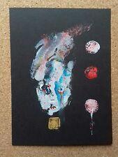 Original portrait in gouache  paint unique contemporary painting