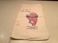 Vintage Advertising Cloth Bag Producers' Seeds Rare Illinois 10 LBS Empty