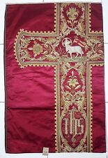 Antique French Lamb of God Vestment Chasuble Reddish Embroidered Panel