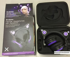 Brookstone Wired Cat Ear Headphones Purple cat headphones USB New