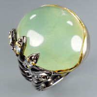 Women Jewelry Natural Prehnite 925 Sterling Silver Ring Size 8/R115004