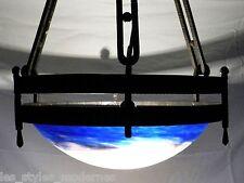 Degue France Art Deco Ferro Pate de verre Plafoniera ° ferro-Edgar Brandt stile