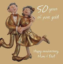 Mum & Dad 50th Golden Anniversary Greeting Card One Lump or Two Cards