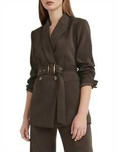 WITCHERY chocolate brown double breasted belted blazer sz4 (also fit 6-8) | BNWT