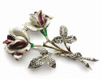 Vintage Large Heavy Silver Enamel Marcasite  ROSES Brooch - GIFT BOXED