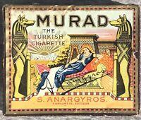 Antique Vintage Murad Turkish Cigarette Box Litho Advertising Egyptian Tobacco