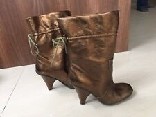 Bronze Leather Nine West High Heeled Boots. Size 6