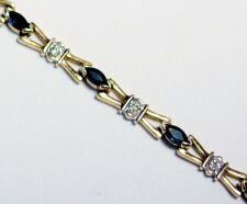 "Marquise Sapphire & Diamond Bracelet 10K Yellow Gold 7.25"" w/ Figure 8 Safeties"