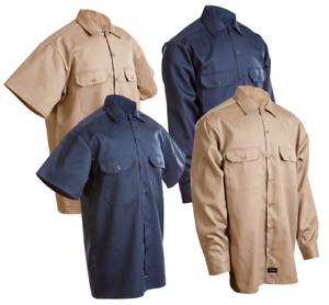 Work Shirt Men's Navy Khaki Conqueror Mechanic Uniform Long Short Sleeve Button