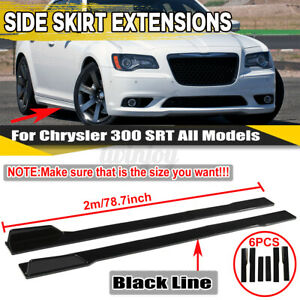 "For Chrysler 200 300 SRT 79"" Side Skirts Extension Bottom Line Lip Gloss Black"