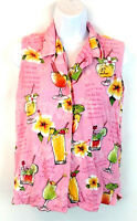 Big Dog Women's Sleeveless Button Up Blouse Top Pink Floral Drinks Size Small