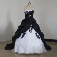 Plus Size Long Black White Ball Gowns Bridal Wedding Dresses Strapless Custom
