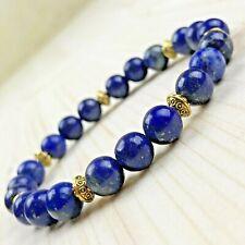 Bracelet Homme Femme Perles Naturelles Lapis Lazuli Tibet doré Lithothérapie