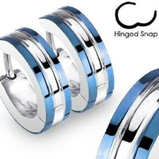 Pair of Stainless Steel 2 Tone Hoop Earring with Blue Edges