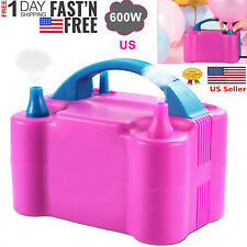 Portable Double Electric Balloon Air Pump Inflator 110V Blower Party Pink US