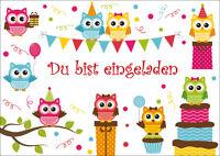 6 süsse Eulen-Einladungskarten zum Kindergeburtstag / Einladungen zur Party