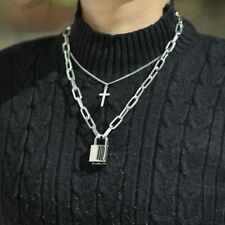 Multilayer Punk Cross Chain Square Lock Necklace Padlock Chains Hip Hop Jewelry