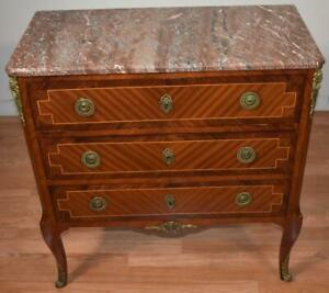 1910 Antique French Louis XV Walnut & Satinwood inlay Marble top small Commode
