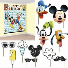 Disney Mickey Mouse Scene Setter + 12 Prop Happy Birthday Party Wall Decoration