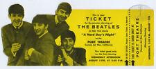 Original BEATLES Hard Day's Night Premiere Unused Ticket Port Theatre 8/12/64