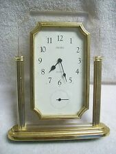 Vintage 1970's Seiko Brass & Lucite Quartz Desk Clock with Separate Second Hand