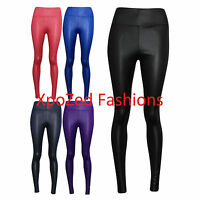 New Women's Celeb Style Shiny Wet Look Pants Ladies High Waist Leggings 8-14