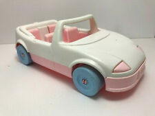 1992 Playskool Dollhouse White/Pink Convertable Sports Car built in car seat