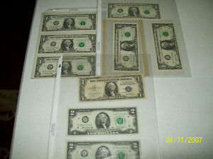 Lot of United States Notes Some with Consecutive Serial Numbers UNC See Details