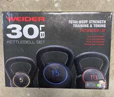 Weider 30lb Kettlebell Training Set - 15lb, 10lb, 5lb Kettlebells - Brand New