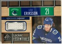 2018-19 Loui Eriksson Jersey SP Game Used Locker Essentials #LE-LE Canucks
