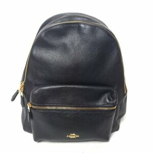 Auth COACH F29004 Black Leather Nylon Backpack