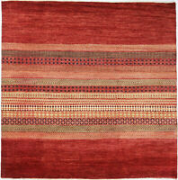 8X8 Hand-Knotted Gabbeh Carpet Tribal Red Fine Wool Square Rug D30458