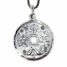 White gold on silver pendant round fortune and protection