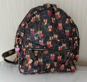 Ladies Owl Print Oil Cloth Backpack