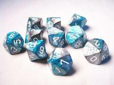 Chessex Dice Sets:Gemini Steel & Teal W/ White Ten Sided Die d10 Set10 CHX 26256