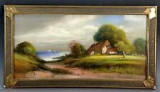 Gorgeous antique plein air coastal scene.  Incredible pastel with original frame