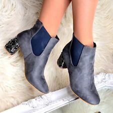 Womens Ankle Boots Block Mid High Heel Suede Pull on Ladies Jeweled Booties Size