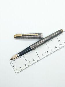 Vtg PARKER 75 Sterling Silver Cisele Dished Tassie Fountain Pen 14K F Nib USA