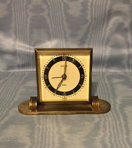 "Vintage Rare German  Brass ""Florn""  Desk Alarm Clock      Germany"