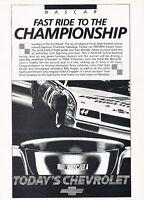 1985 Chevrolet Monte Carlo SS NASCAR Race Champ Advertisement Car Print Ad J505