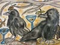 Crow Drinking a Martini ACEO Pop Art Cart Print 2.5 x 3.5 Signed by Artist KSams